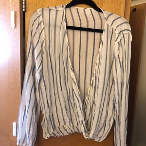 Blue and white striped low cut top